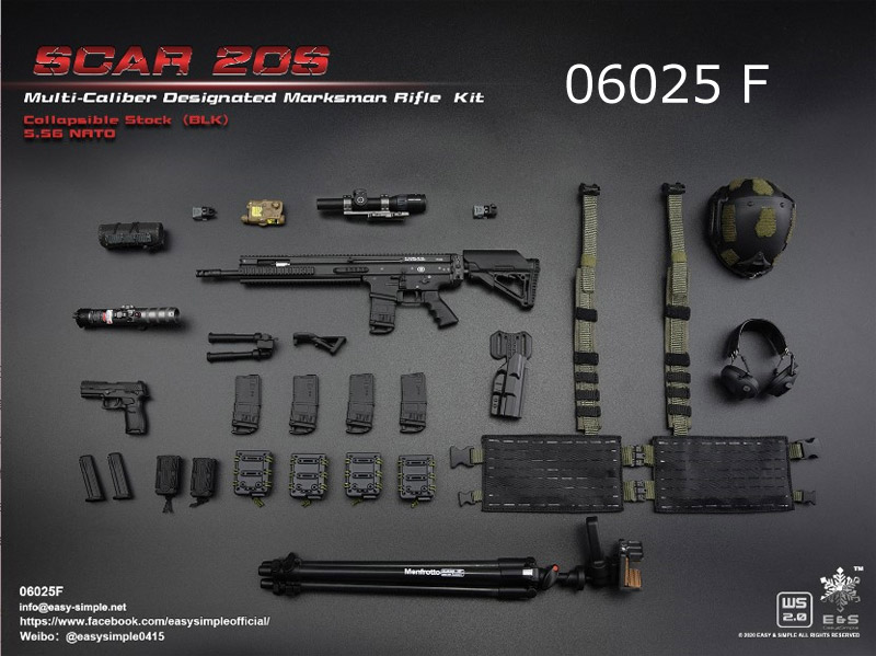 【EASY&SIMPLE】06025 ABCDEF SCAR 20S Multi Caliber DMR Kit 1/6スケール ライフル