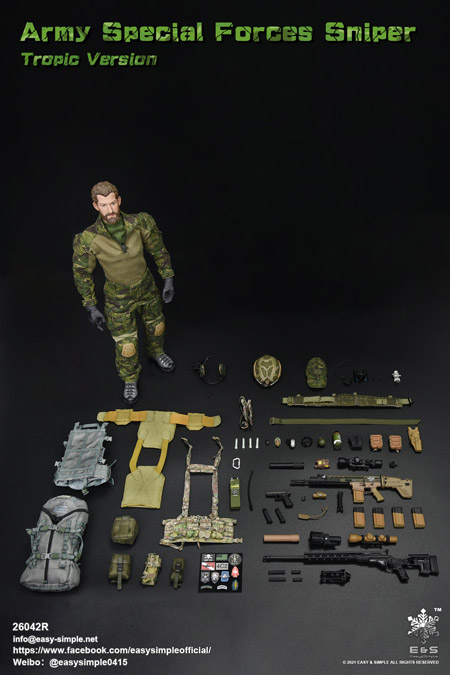 【EASY&SIMPLE】26042R Army Special Forces Sniper Tropic Version 1/6スケールミリタリーフィギュア