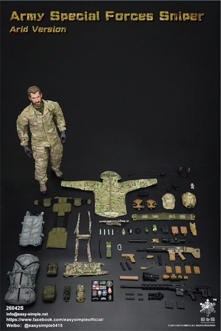 【EASY&SIMPLE】26042S Army Special Forces Sniper Arid Version 1/6スケールミリタリーフィギュア