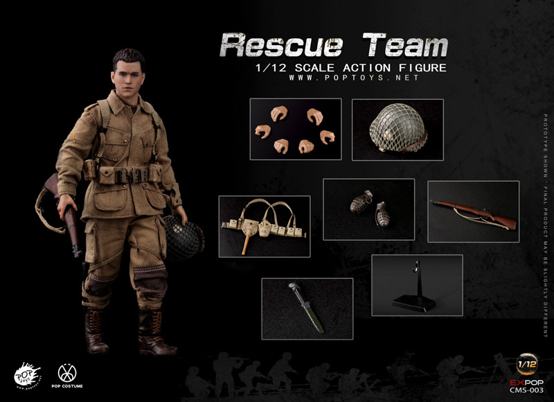 【POPtoys】CMS003 1/12 WW2 US Rescue Squad Paratrooper アメリカ陸軍 第101空挺師団 ライアン一等兵 1/12スケールフィギュア