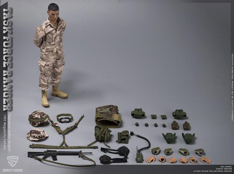 【crazyfigure】LW001 1/12 アメリカ陸軍 75thレンジャー連隊 タスクフォースレンジャー チョークリーダー 1993 ソマリア