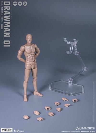 "【DAM】DPS01 1/12 SCALE ACTION FIGURE ""DRAWMAN"" ドローマン デッサン人形 1/12スケールフィギュア 男性ボディ素体"