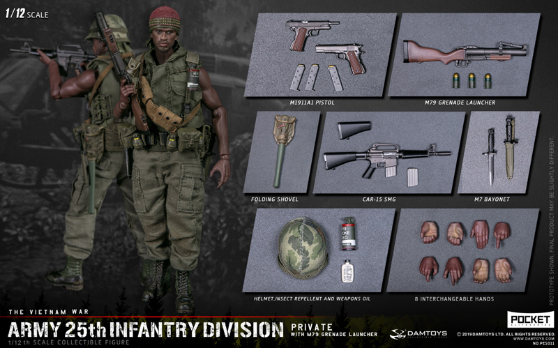 【DAM】PES011 1/12 ARMY 25th Infantry Division Private WITH M79 GRENADE LAUNCHER ベトナム戦争 アメリカ陸軍 第25歩兵師団 1等兵