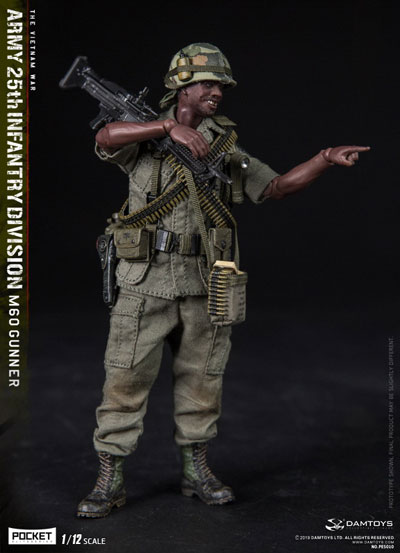 【DAM】PES010 1/12 ARMY 25th Infantry Division M60 GUNNER ベトナム戦争 アメリカ陸軍 第25歩兵師団 M60機関銃手