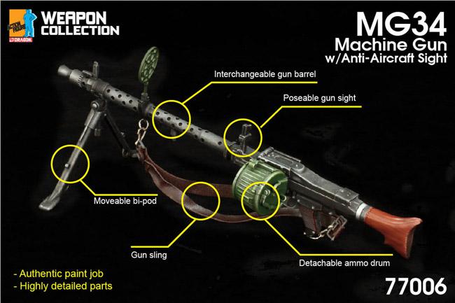【ドラゴン】77006 MG34 Machine Gun with Anti-Aircraft Sight 1/6スケール MG34 機関銃 (対空照準器付)