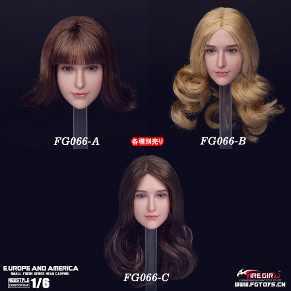 【FireGirlToys】FG066ABC sweet women headsculpt 1/6スケール 植毛 女性ヘッド