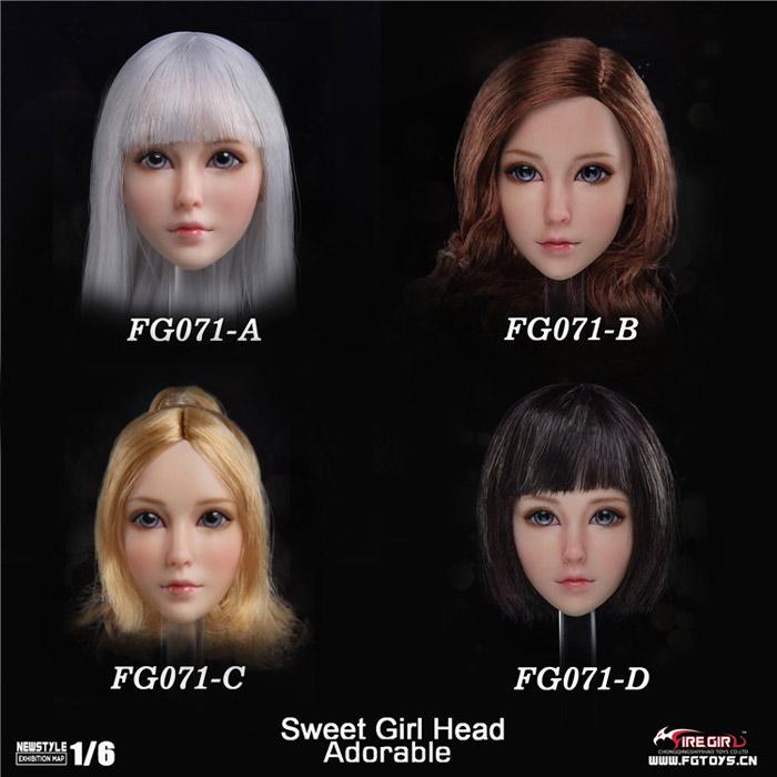 【FireGirlToys】FG071ABCD Sweet girl headsculpt 1/6スケール 植毛 女性ヘッド
