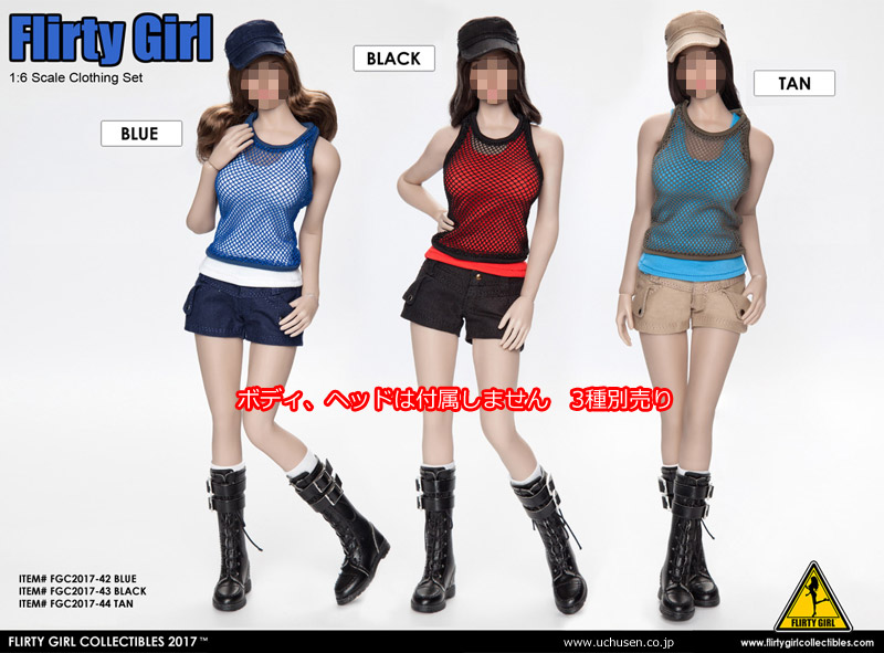 【FLIRTY GIRL】FGC2017-42 -43 -44 1:6 Combat Short Fashion Clothing set 女性コンバットファッション