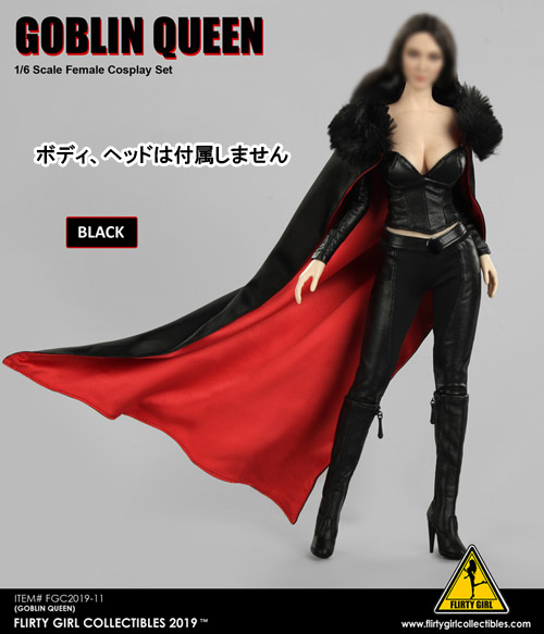 【FLIRTY GIRL】FGC2019-11 BLACK 1:6 Goblin Queen 1/6スケール 女性コスチューム