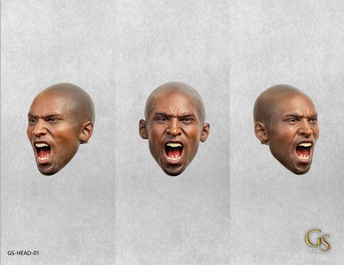 【GSTOYS】GS-Head-01 1/6 Black Male Roaring Headsculp 黒人男性フィギュアヘッド 1/6スケール 男性ヘッド