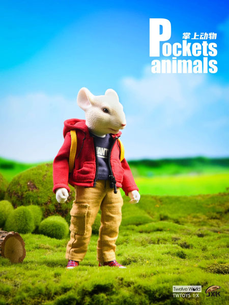 【JxK.Studio】JXK032A Pockets Animals 7Inch 動物擬人化シリーズ ネズミ 白 (パーカ)