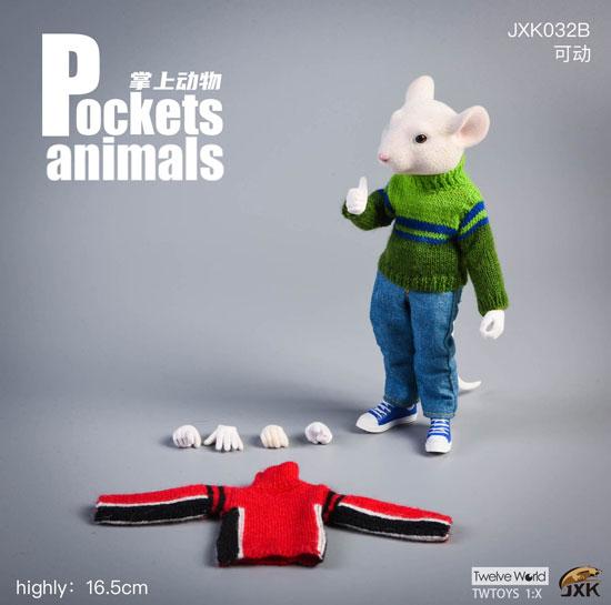 【JxK.Studio】JXK032B Pockets Animals 7Inch 動物擬人化シリーズ ネズミ 白 (セーター)