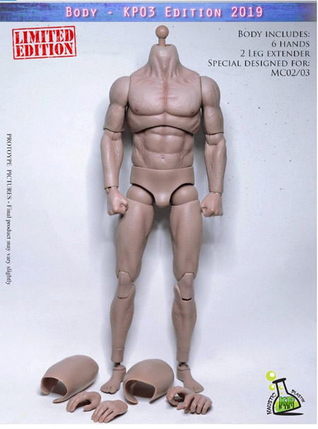 【KAUSTIC PLASTIK】Athletik Muscle Body KP03 - Edition 2019 - Pale tone skin Headless 1/6スケール 男性ボディ素体 ヘッドなし