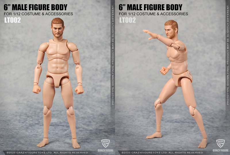 【crazyfigure】LT001 LT002 1/12 The head carves the multi joint movable male body 1/12スケール フィギュアボディ