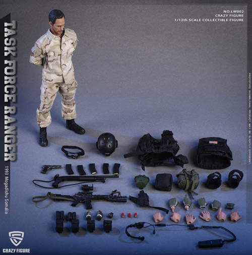 """【crazyfigure】LW002 1/12 US Miliary Special Force -(ASOC) Army Special Operations Command """"Operation Gothic Serpent"""""""