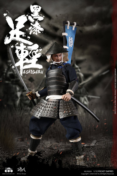 【COO】PE009 1/12 PALM EMPIRES - BLACK ARMOR ASHIGARU 武士 足軽 (黒色具足) 1/12スケールフィギュア