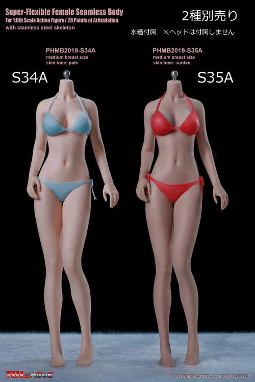 【TBLeague】PHMB2019-S34A (pale) S35A (suntan) TBリーグ 1/6スケール シームレス女性ボディ (ヘッドなし)