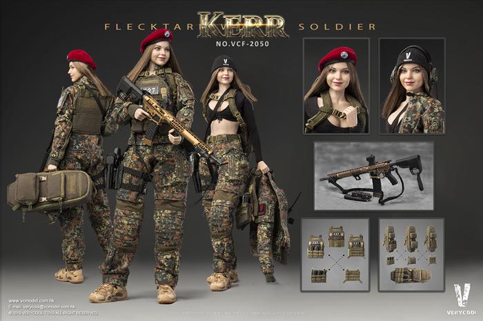 【VeryCool】VCF-2050 1/6 FLECKTARN WOMEN SOLDIER-KERR フラックターム迷彩 女性兵士 カー 1/6スケール女性フィギュア