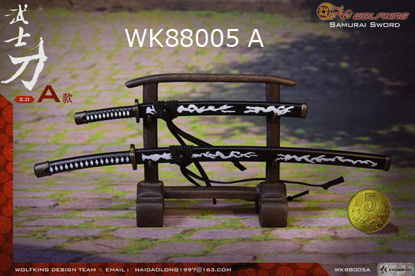 【WOLFKING】WK88005 AB SAMURAI SWORD 刀 2本セット&掛け台(刀スタンド) 1/6スケール 日本刀セット