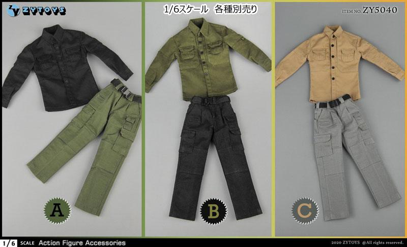 【ZYTOYS】ZY5040 ABC PMC Shirt + Pants + Belt Field Service 男性フィギュア用 1/6スケール シャツ&パンツ&ベルト