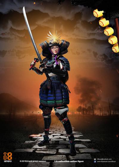 【i8TOYS】001B 1/6 Female samurai RIN Black armor version 女武士 侍 凛 黒色版 1/6スケール女性フィギュア